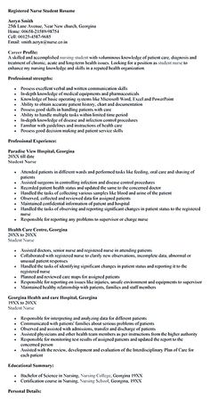 Registered Nurse Student Resume Template Nursing Student Resume Must  Contains Relevant Skills, Experience And Also Educational Background To  Make Sure The ...  Student Nurse Resume
