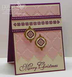 Mosaic Embossing folder  Pink pirouette, Very Vanilla, Rich Razzleberry