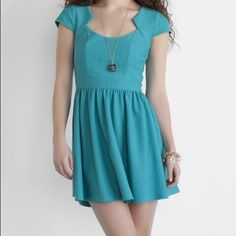Francescas cap sleeve dress This is a Francesca's collection sweetheart neckline, Sleeve dress in teal. It is a size medium. It has been worn two times. It has a small Mark in the fourth photo. Francesca's Collections Dresses Mini