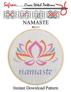 NAMASTE  Home Decor Counted Cross Stitch Pattern by epublishers
