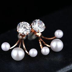 Zirconia earrings,Ear Jackets,Gold Metal Earrings, Druzy Pearl Studs Earrings, Sparkle Cubic Zirconia Earrings,CZ Earrings,Bridal Earrings