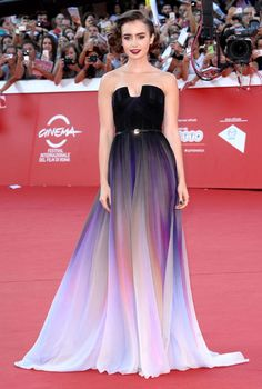 Lily Collins in Elie Saab Couture. Can't get over how classy she looks!