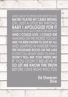 DIVE - ED SHEERAN - Word Typography Words Song Lyric Lyrics Music Wall