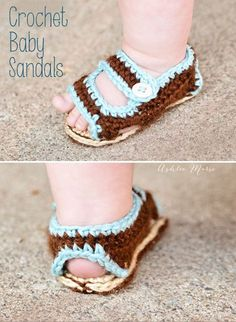 Crochet Baby Shoes Tutorial ♥ Free pattern for adorable baby sandals Crochet Booties Pattern, Crochet Baby Sandals, Crochet Shoes, Crochet Slippers, Crochet Patterns, Sewing Patterns, Estilo Birkenstock, Birkenstock Style, Crochet For Boys