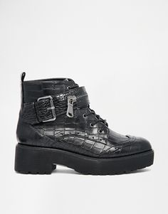 River Island Mock Croc Lace Up Ankle Boots