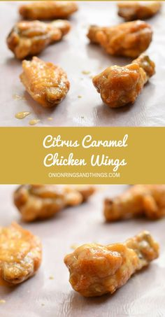 Lightly breaded, fried until crisp and then drenched in a citrusy, creamy and caramelly sauce, these citrus caramel chicken wings are finger-licking, lip-smacking awesome! Make sure to make a huge batch as they'll be polished off before you know it.