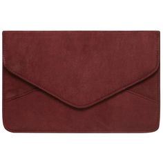 Dorothy Perkins Wine suedette clutch (€13) ❤ liked on Polyvore featuring bags, handbags, clutches, red, evening clutches, red evening purse, cocktail purse, red clutches and red handbags