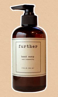 Further Hand Soap  Is made from the glycerin derived from the distillation of biofuel, has a signature fragrance made from the oils of bergamot, olive and exotic grasses.