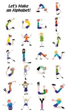 alphabet yoga for kids * alphabet yoga for kids + alphabet yoga for kids free printable + alphabet yoga for kids gross motor + alphabet yoga for kids letters + alphabet yoga poses for kids + kids alphabet yoga Poses Yoga Enfants, Kids Yoga Poses, Yoga For Kids, Exercise For Kids, Abc Poster, Posters Escolares, Gross Motor Activities, Gross Motor Skills, Alphabet Activities