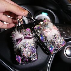 Universal Bling Car Key Holder FOB with Rhinestones and Pompom Fur