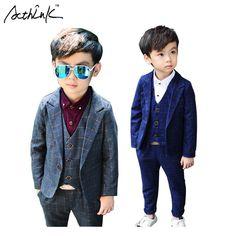 ActhInK New 3Pcs Boys Plaid Wedding Suit Brand England Style Gentle Boys Formal Tuxedos Suit Kids Spring Clothing Set, C157