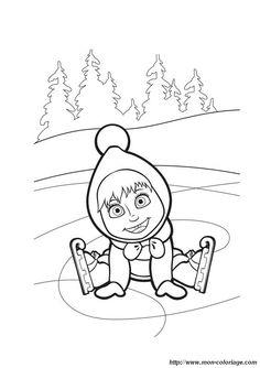 Colorear Masha y el oso, dibujo masha17