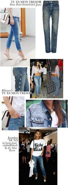 Style Inspiration II : Pearl-Embellished Blue Jeans