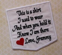 Items similar to Memory Pillow Patch. This is a shirt I used to wear Love Grammy. on Etsy Sewing Hacks, Sewing Crafts, Sewing Projects, Sewing Tutorials, Fabric Crafts, Diy Projects, Old Shirts, Dad To Be Shirts, Memory Pillows