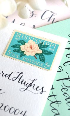 Vintage 1967 Southern Magnolia Postage Stamps for Southern Wedding Invitations & Save the Dates. $3.49/set