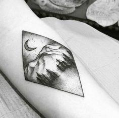 Diamond-Shaped Landscape Tattoo by Florida Velvet
