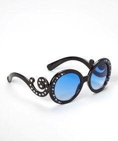 Loving this Black Swirl Rhinestone Sunglasses on #zulily! #zulilyfinds