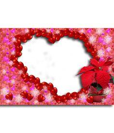Marco con forma de corazón hecho de pequeños corazoncitos http://www.fotoefectos.com