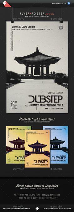 Dubstep - Minimal Poster, Flyer Template #design Download: http://graphicriver.net/item/dubstep-minimal-poster-flyer-template/13033889?ref=ksioks
