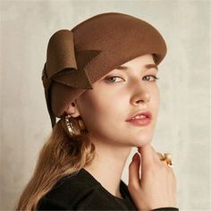 89bd293a2d070 Fashion bow wool beret hat for women british style winter occasion hats