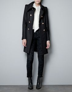 COAT WITH GATHERED SHOULDER AND METALLIC BUTTON - Coats - Woman - ZARA United States