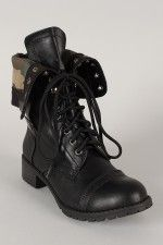 Soda Oralee-S Camouflage Cuff Military Lace Up Boot