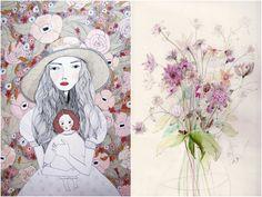As ilustrações da escocesa KT Smail trazem meninas e elementos da natureza através de pinceladas quase infantis