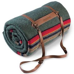 Pendleton Yakima Green Heather Blanket With Leather Carrier