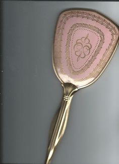 Antique Hand Mirror Pink on back side 12 inches