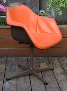 Vintage Chair Orange Swivel Robin Day Hille Mid Century Retro