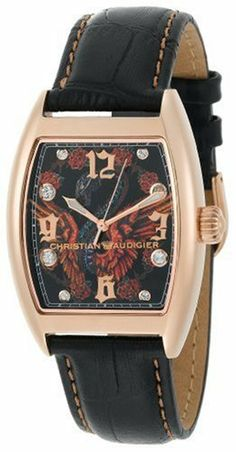 Christian Audigier Unisex INT-310 Intensity Bird Cage, Rose Ion-Plating Rose Gold Watch Christian Audigier. $136.00. Swarovski accented dial. Japanese-quartz movement, seconds hand. Water-resistant to 330 feet (100 M). Stainless-steel case, leather strap. Christian Audigier artwork on the dial, crystal material Christian Audigier, Aleta, Unisex, Watches For Men, Wrist Watches, Stainless Steel Case, Gold Watch, Watch Bands, Bird Cage