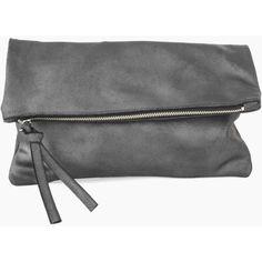 Oversized Leather Fold Clutch found on Polyvore