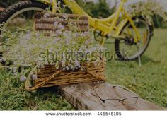 Blurred of grass  flowers in a basket with yellow bike in an outdoor garden-vintage themes - stock photo