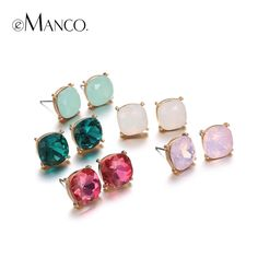 multicolor crystal stud earrings sets for women gold plated zinc alloy geogemtric earring fashion jewelry brincos femme WOW #Jewelry #shop #beauty #Woman's fashion #Products