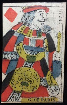 Hand Painted c1780 Card King of Diamonds