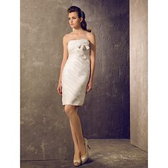 Sheath/Column Sweetheart Short/Mini Organza Wedding Dress (710759) – USD $ 89.69~ALSO AVAILABLE IN IVORY,CHAMPAGNE & BLUSHING PINK!