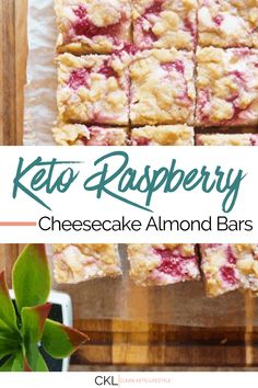 Clean Keto Recipe   Keto Raspberry Cheesecake Almond Bars Raspberry Cheesecake Bars, Keto Cheesecake, Low Carb Desserts, Low Carb Recipes, Healthy Recipes, Banting Desserts, Yummy Recipes, Almond Bars, Keto Fruit