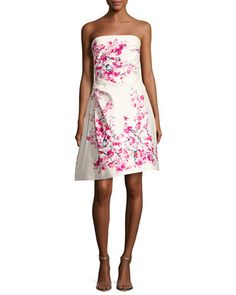Strapless Cherry Blossom-Print Cocktail Dress, Multi by Monique Lhuillier at Bergdorf Goodman.