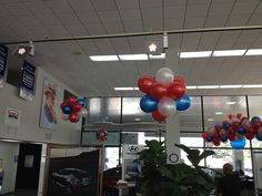 """RWB Hyundai - Balloon Man LLC #ballooncreations  #balloondesigns It's less expensive than the """"do-it-yourself"""" method with your helium expense, balloon cost, and your dealership's labor (when you figure in the amount of time your sales personnel is off the floor and off the phone). It gives your dealership a more professional look and it's absolutely no hassle to you."""