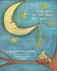 Baby Art - I Love You to the Moon and Back Nursery Print