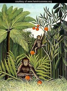 Two Monkeys in the Jungle - Henri Julien  Rousseau - www.henrirousseau.org