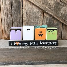 """I love this set! I came up with a bunch of """"monsters"""" to choose from! Dollar Tree Halloween Decor, Halloween Wood Crafts, Halloween Wood Signs, Halloween Decorations, Fall Halloween, 2x4 Crafts, Fall Crafts, Holiday Crafts, Holiday Fun"""