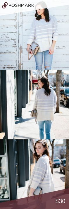 """{Lou & Grey} Horizon Sweater The sweetest sweater, with cream and light blue stripes. The soft material and 3/4 sleeves make it perfect for spring. Flattering oversized fit.  Worn twice  c o n t e n t + 54% acrylic 