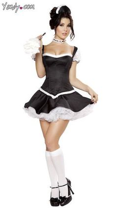 French Maid Garter  Black and white  Can Can  Flapper   Hen