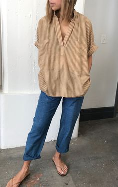 Neutral Stripe Two Pocket Shirt