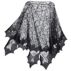 "Spider Web Poncho  Exclusive! Crawl Space. When it comes to spinning and weaving, spiders take the—fly. Hemmed with bat wings all around, this eerie poncho entangles the wearer in an air of the sinister. 100% polyester. Machine washable. Made in USA. Color: Black. One size fits all; 40"" long (center back).	   ****  Spider Web Poncho  Item #: P93400  Price: $39.95"