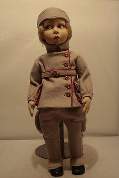 RARE 1920's Lenci Amelia Earhart Aviator Doll 16 inches Tall