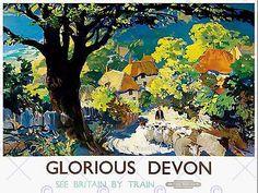 Tourism #railway devon england uk glorious village tree art #print poster #cc2079,  View more on the LINK: http://www.zeppy.io/product/gb/2/152071116853/