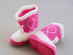 Cowgirl Baby  Booties    Rose and Ivory    by TwentySecondStreet, $18.00-AWWWWW