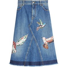 R.E.D. Valentino Printed Denim Skirt (39.220 RUB) ❤ liked on Polyvore featuring skirts, blue, calf length skirts, pastel blue skirt, midi skirt, mid calf denim skirts and mid calf skirts